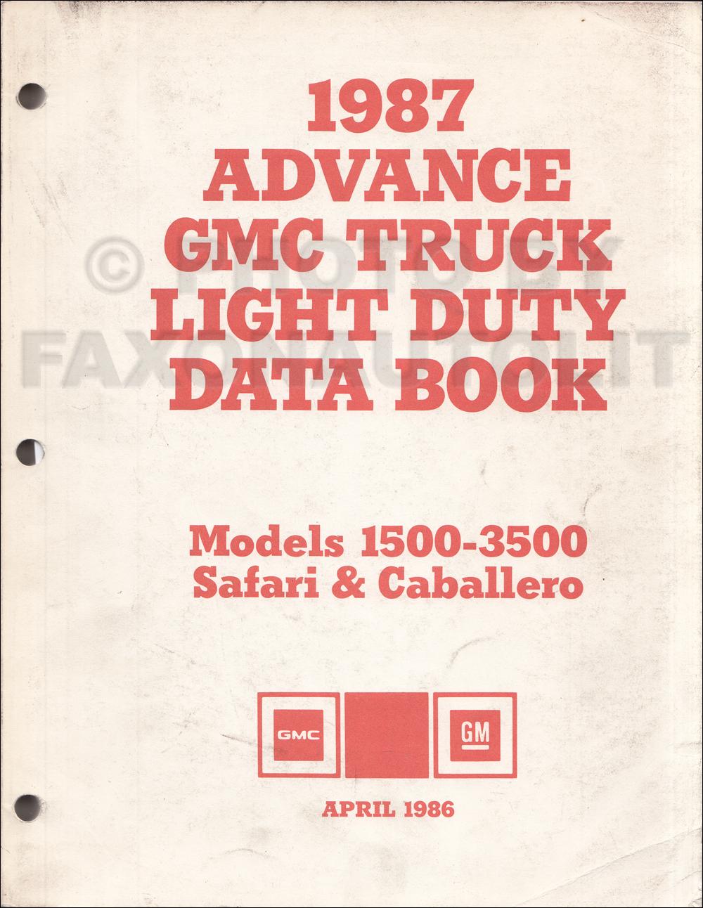 1987 GMC Advance Light Duty Data Book Original