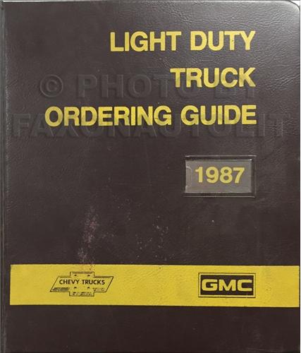 1987 GMC Chevy Light Duty Color & Upholstery Dealer Album/Data Book Original Canadian