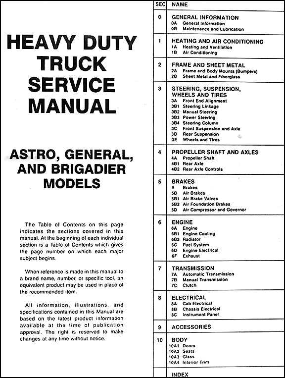 19871988 GMC Heavy Duty Truck Repair Shop Manual Original Astro