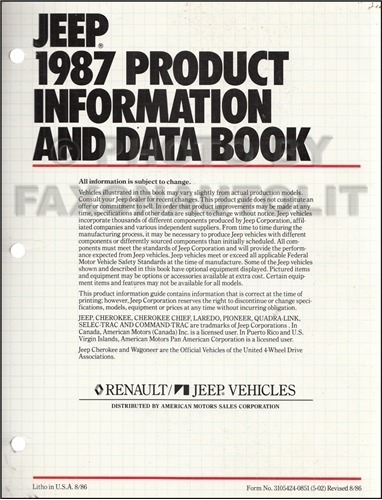 1987 Jeep Color & Upholstery Album and Data Book Original