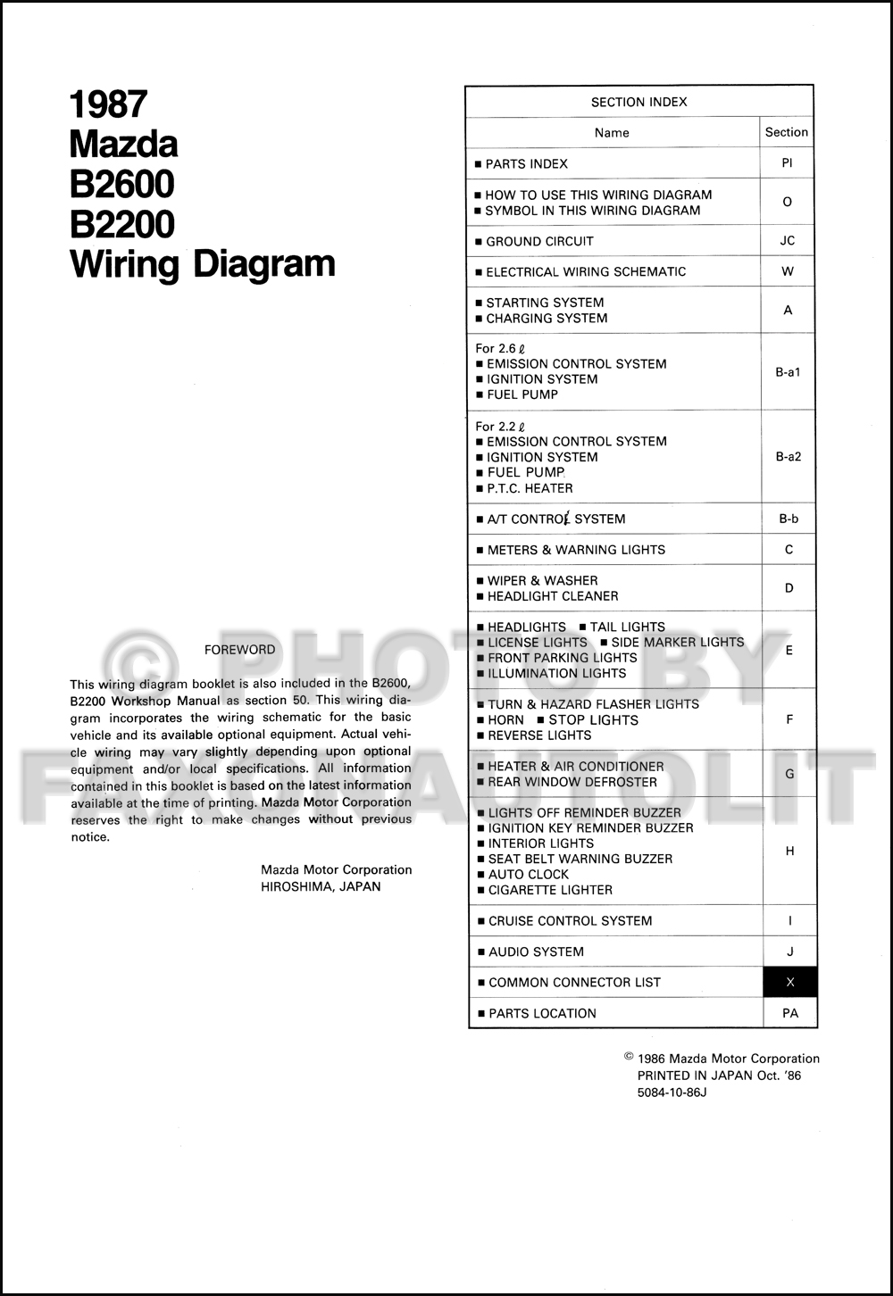 1987MazdaB2600B2200OWD TOC 1987 mazda b2200 b2600 pickup truck wiring diagram manual original Mazda B2200 Engine Wiring at gsmx.co