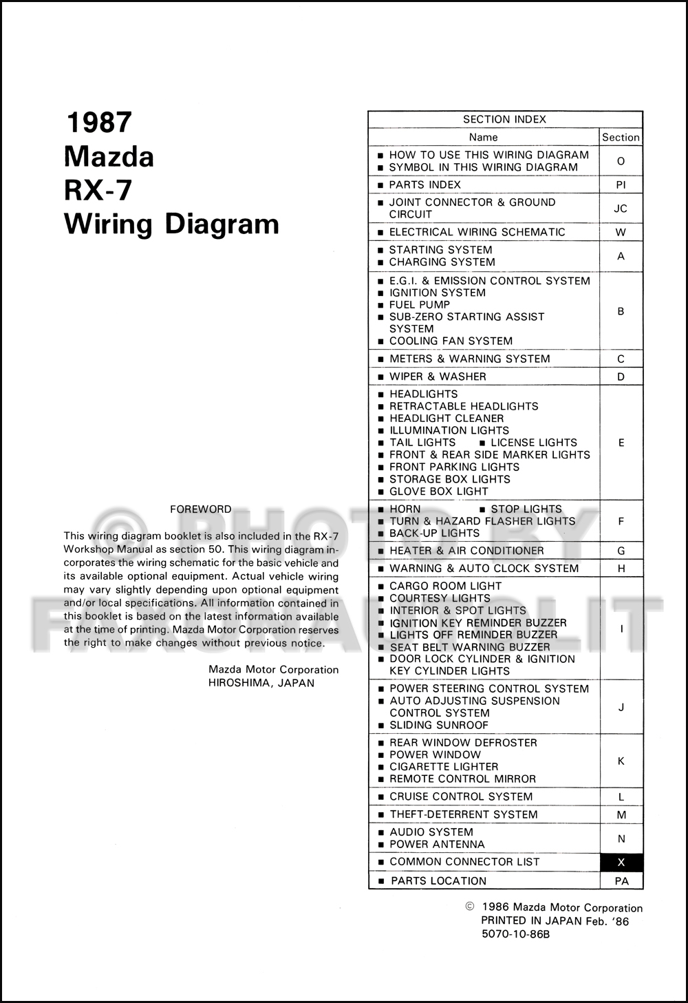 1987 Mazda    RX   7    Wiring       Diagram       Manual    Original RX7
