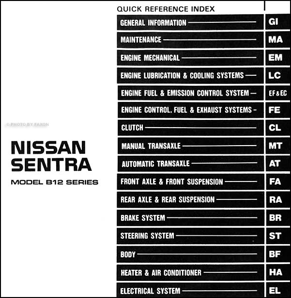 1987 nissan sentra repair shop manual original rh faxonautoliterature com 1986 Nissan Sentra 1987 Nissan Sentra Red