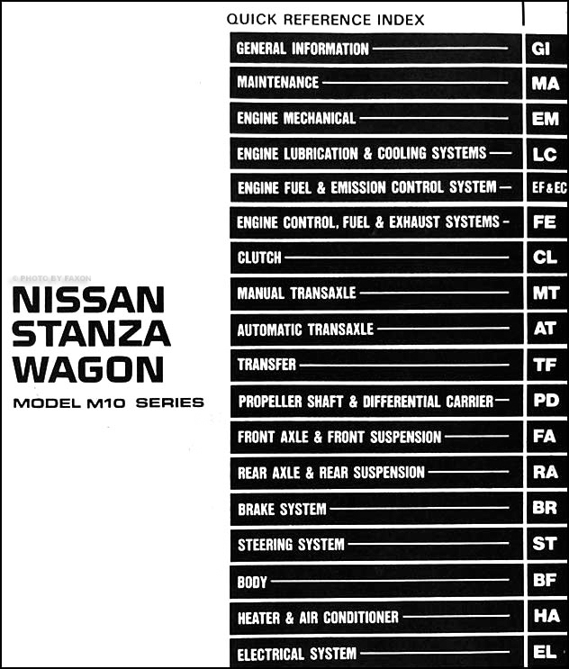 1987 Nissan Stanza Wagon Repair Shop Manual Original