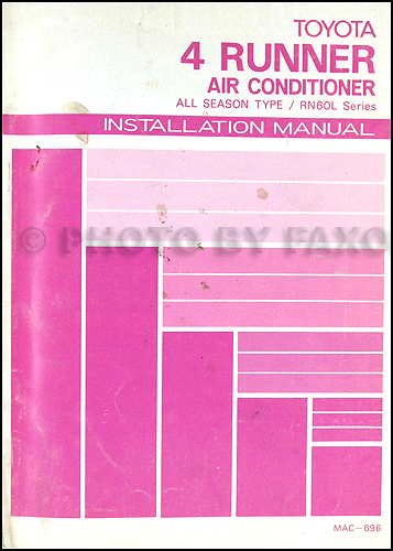 1984 Toyota Air Conditioner Installation Manual Original
