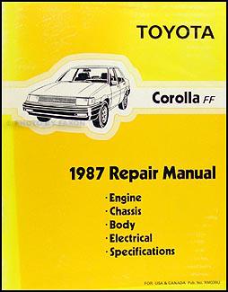 1987 Toyota Corolla RWD Repair Shop Manual Original