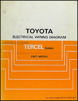 1987 Toyota Tercel Sedan Wiring Diagram Manual Original