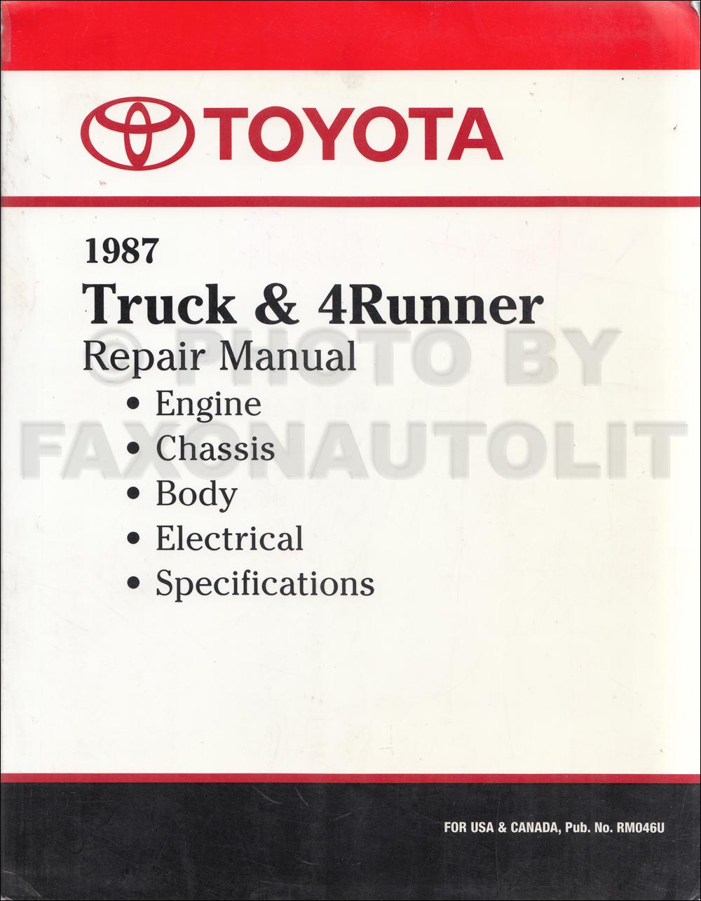 1987 Toyota 4runner Factory Service Manual Truck Wiring Diagram Pickup And Repair Shop Reprint Rh Faxonautoliterature Com 2005