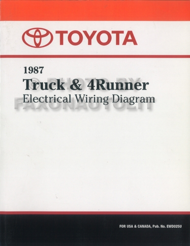 1987 toyota truck 4runner wiring diagram manual factory reprint rh faxonautoliterature com 1987 Toyota 22RE Wire Diagram 1989 Toyota Engine Schematic Diagrams