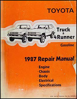 1987ToyotaTruckGasORM 1987 toyota pickup truck and 4runner repair shop manual original