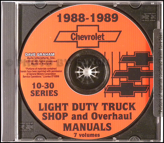 1988-1989 Chevrolet Light Duty Truck Shop and Overhaul Manuals on CD