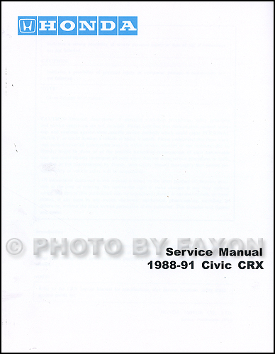 1989 Honda Civic Crx Repair Shop Manual Original