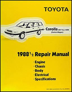 1988.5 Toyota Corolla All-Trac 4WD Wagon Repair Manual Original
