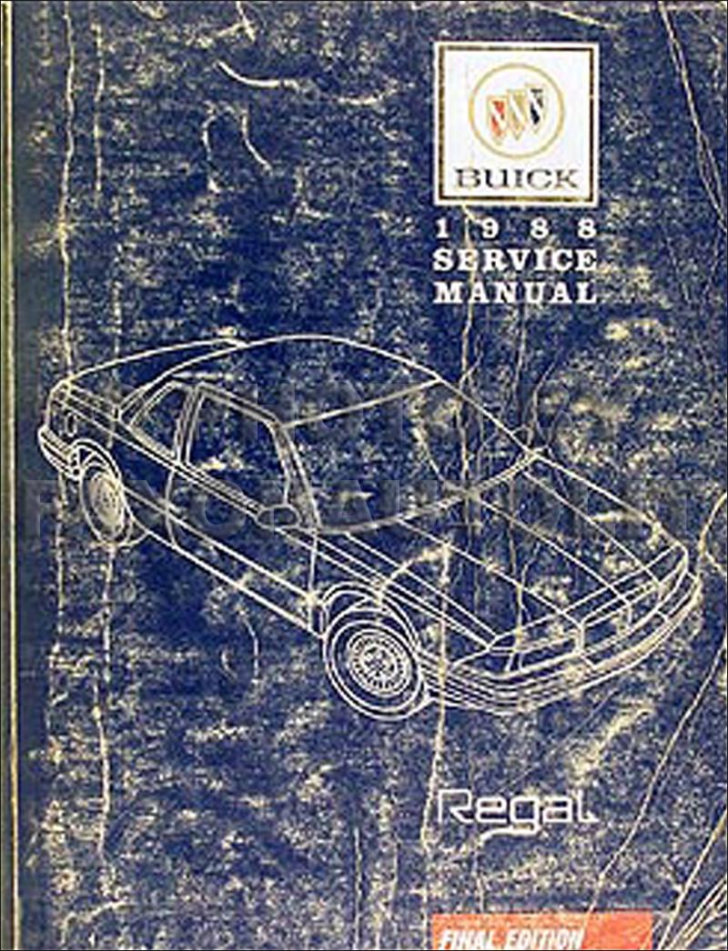1988 Buick Regal Repair Shop Manual Original Engine Diagram
