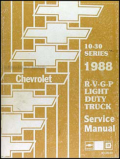 1988 Chevy Truck Repair Shop Manual Original Pickup Blazer Suburban Van FC