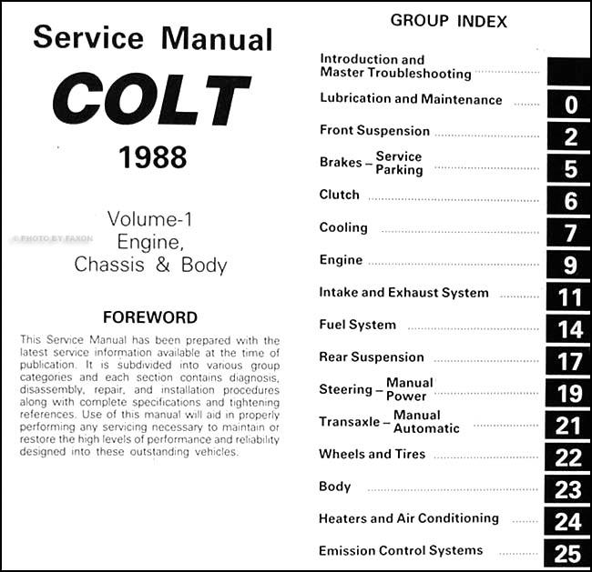 1988DodgeColtORM TOC1 1988 colt repair shop manual original 2 volume set Dodge Ram Wiring Diagram at n-0.co
