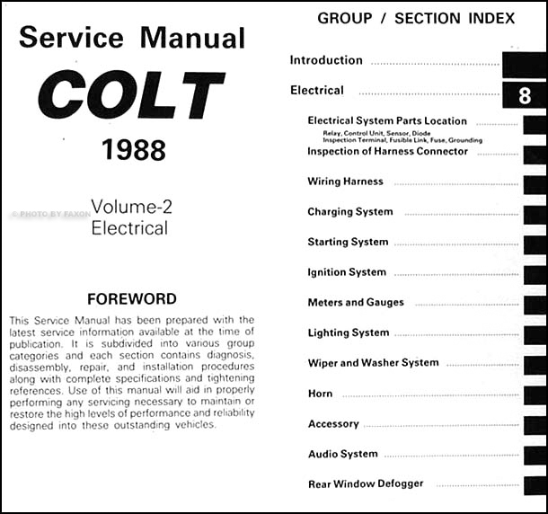 1988DodgeColtORM TOC2 1988 colt repair shop manual original 2 volume set Dodge Ram Wiring Diagram at panicattacktreatment.co