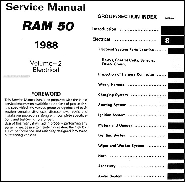 1988 dodge ram 50 truck repair shop manual original 2 volume set rh faxonautoliterature com 5.9 Liter Dodge Engine Diagram 1998 Dodge Dakota Wiring Diagram