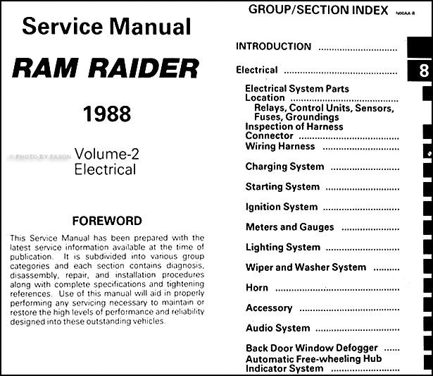 1988 dodge ram raider repair shop manual original 2 volume set rh faxonautoliterature com Dodge Ram Trailer Wiring Diagram Dodge Dakota Stereo Wiring Diagram