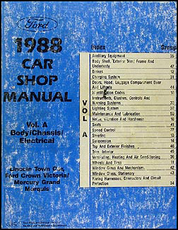 1988 lincoln town car factory foldout wiring diagram original 1988 fomoco original repair shop manual vols a d crown victoria town car mark vi grand marquis 139 00
