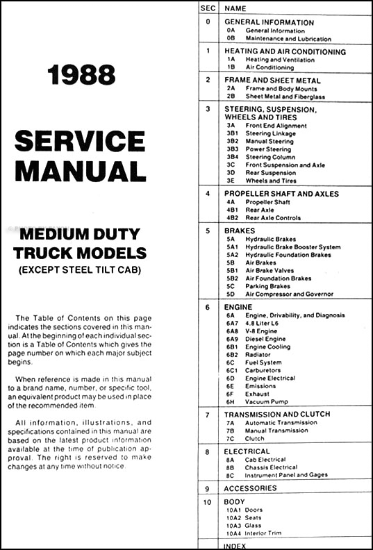 1988GMMDTORM TOC 1988 1989 gmc chevy medium duty 4000 7000 repair shop manual original 1979 gmc 7000 wiring diagram at reclaimingppi.co