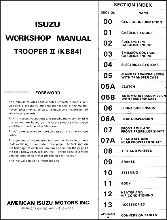 1988IsuzuTrooperORM TOC 1988 isuzu trooper ii repair shop manual original 2002 isuzu trooper radio wiring diagram at readyjetset.co