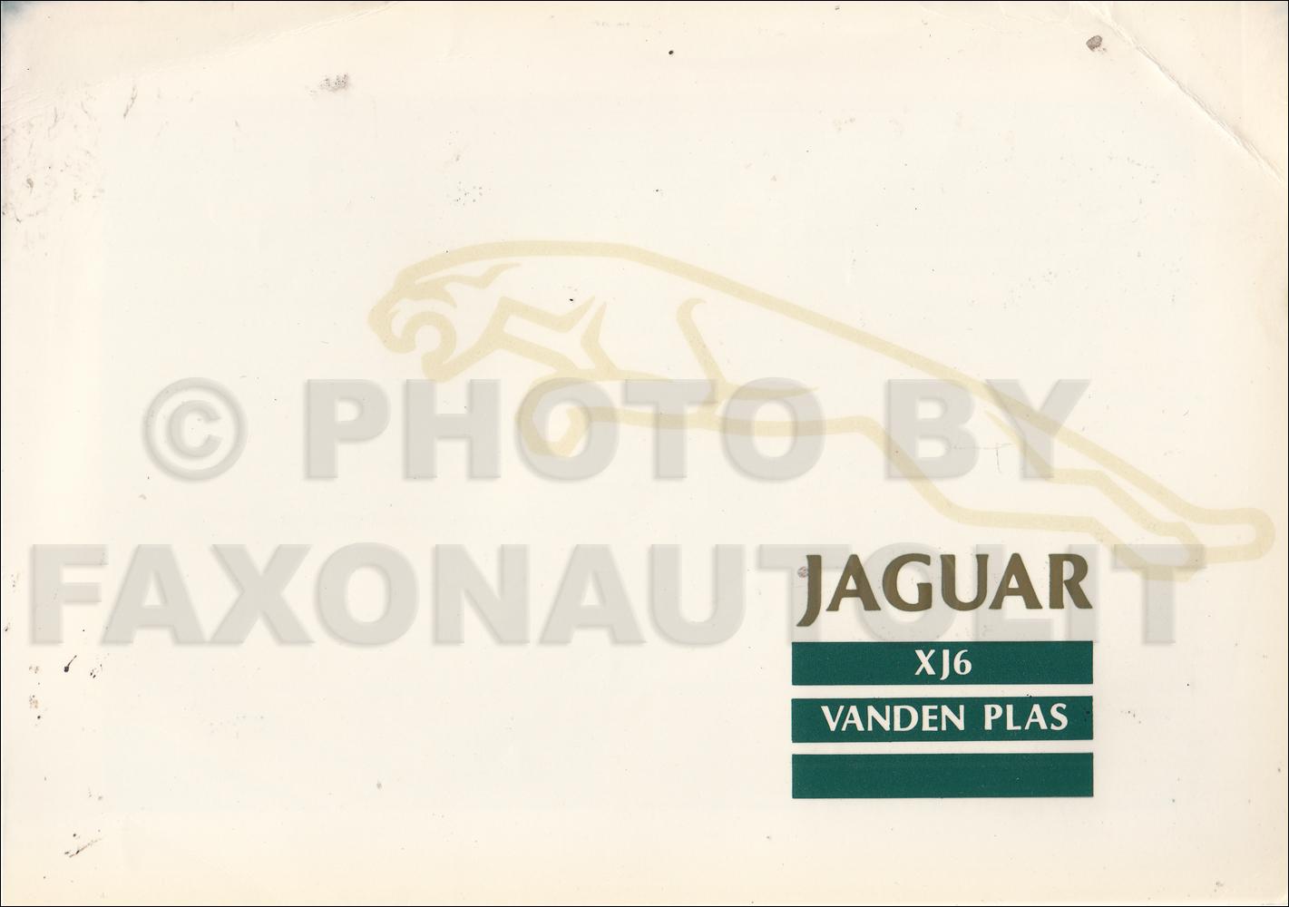 1988 Jaguar Xj6 Electrical Guide Wiring Diagram Original