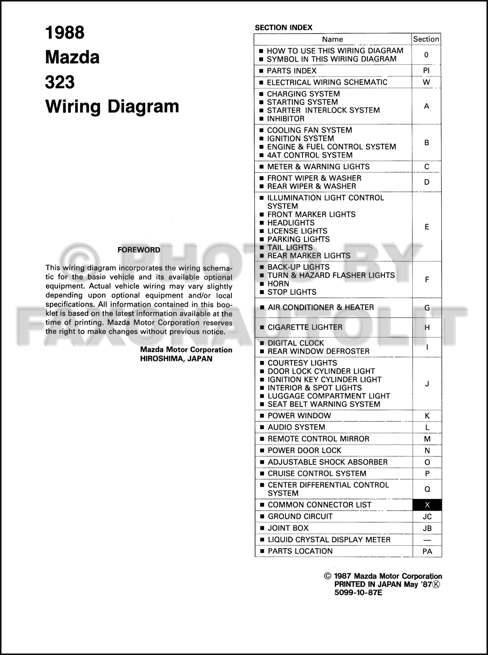 1988 mazda 323 hatchback and sedan wiring diagram manual original