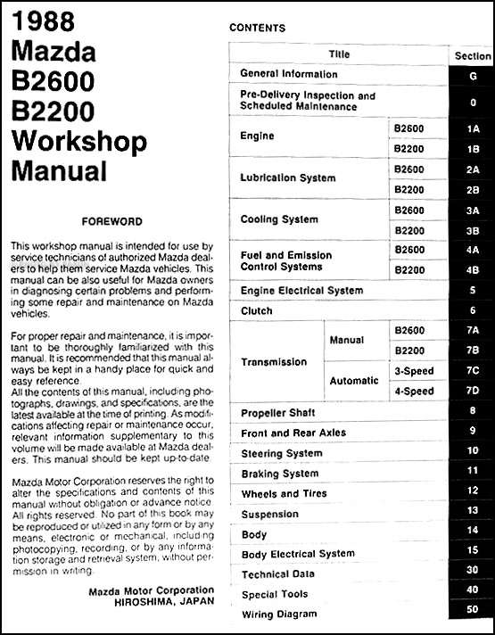 1988 Mazda Pickup Truck Repair Shop Manual Original B2200  U0026 B2600
