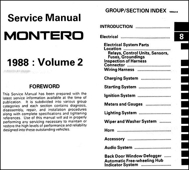 1988MitsubishiMonteroORM TOC2 1988 mitsubishi montero repair shop manual set original 1991 mitsubishi montero wiring harness at aneh.co
