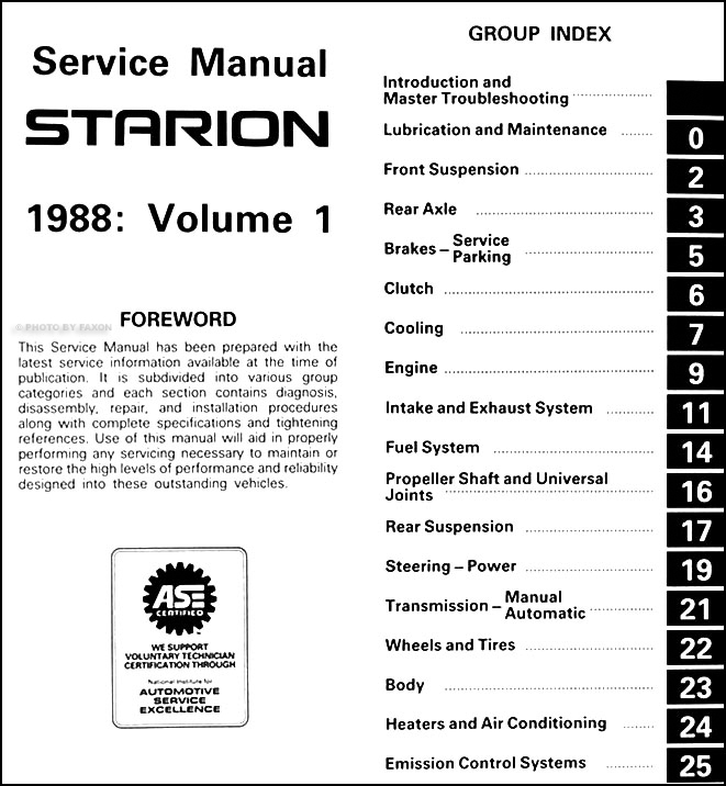 1988MitsubishiStarionORM TOC1 1988 mitsubishi starion repair shop manual original 2 vol set mitsubishi starion wiring diagram at aneh.co