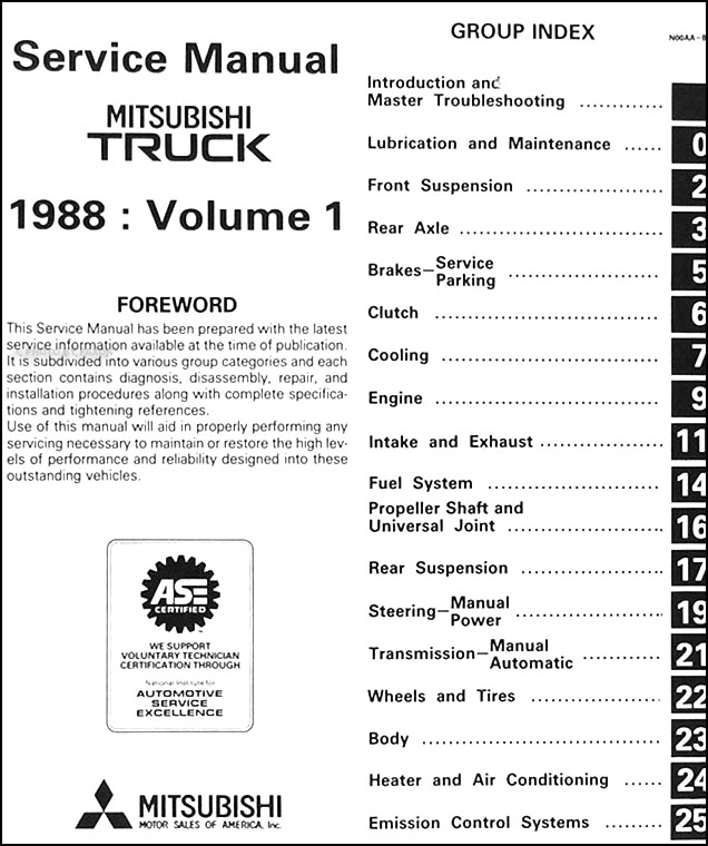 1988MitsubishiTruckORM TOC1 1988 mitsubishi truck repair shop manual set original mitsubishi mini truck wiring diagram at gsmportal.co