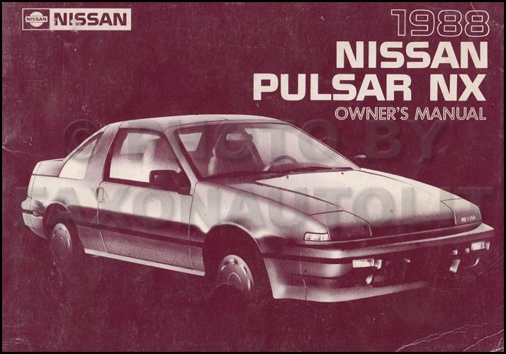 1988 Nissan Pulsar NX Owners Manual Original OEM Owner ...