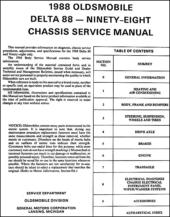 1988 olds repair shop manual delta 88 royale 98 regency ... 82 chevy 350 starter wiring diagram