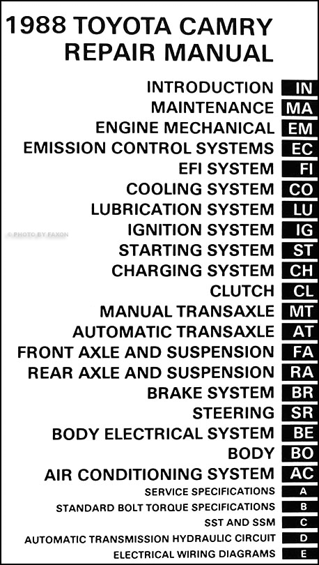 1988 toyota camry repair manual pdf