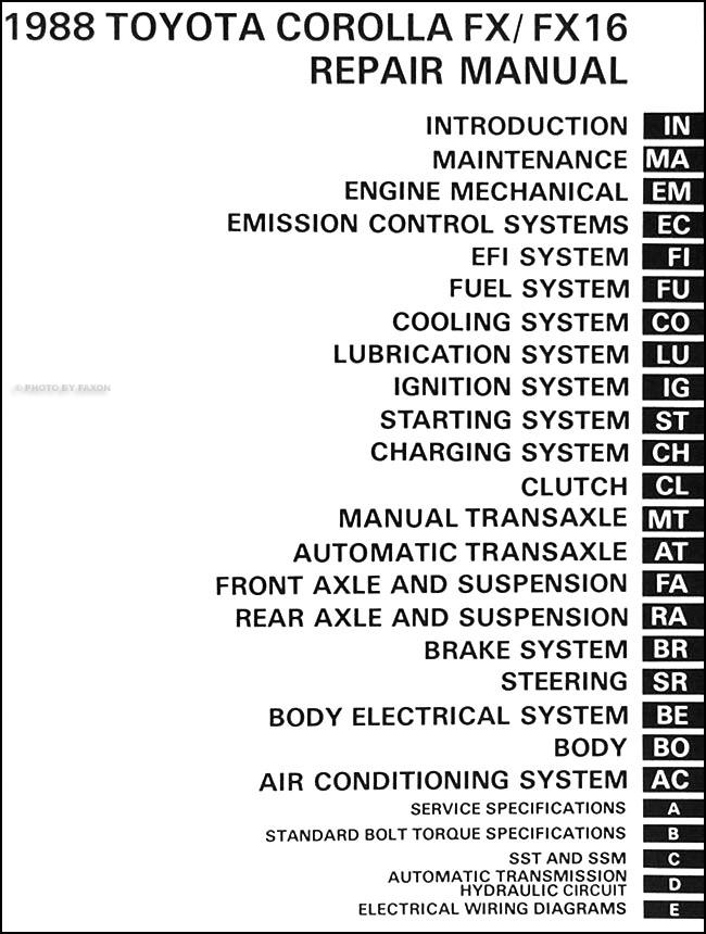 1988 toyota corolla fx fx 16 repair shop manual original rh faxonautoliterature com 1988 Toyota Corolla FX Engine 1987 Toyota Corolla FX16