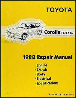 1988 toyota corolla fx fx 16 repair shop manual original rh faxonautoliterature com 2007 Toyota Corolla Blower Motor Relay Location 2007 Toyota Corolla Blower Motor Relay Location