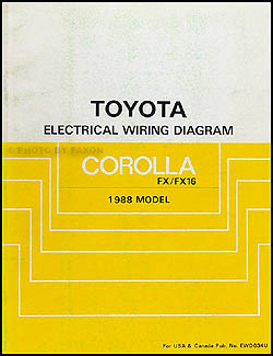 1988 toyota corolla fx and fx16 wiring diagram manual original rh faxonautoliterature com 1988 Toyota Corolla GTS 88 Toyota Corolla Specs