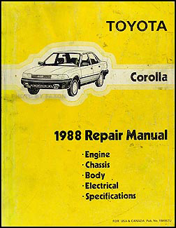 1988 Toyota Corolla Repair Manual Original