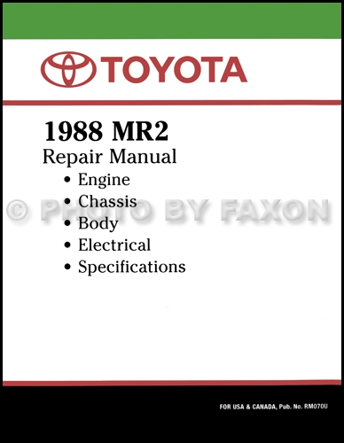 1988 Toyota Mr2 Repair Shop Manual Factory Reprint
