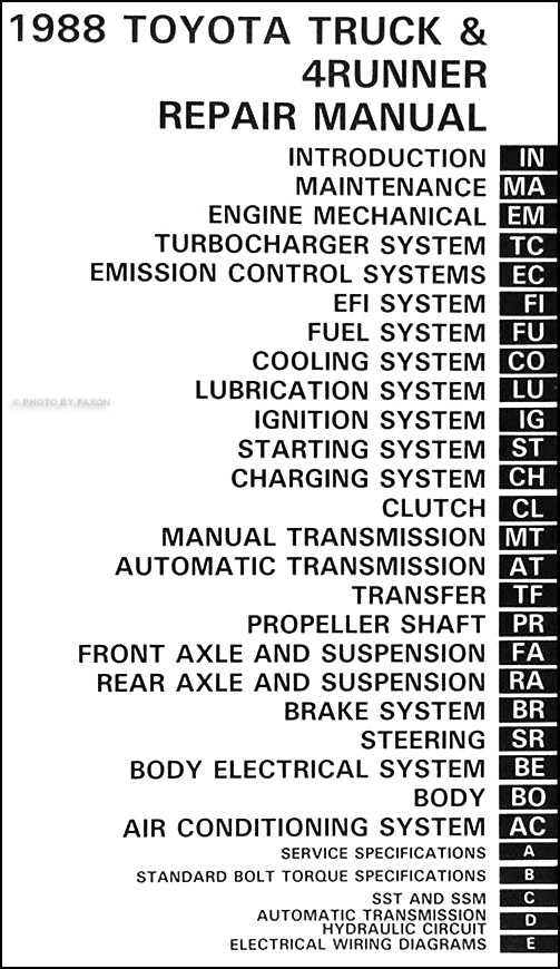 1988ToyotaTruckORM TOC 1988 toyota pickup truck 4runner repair shop manual 1988 toyota camry wiring diagram at soozxer.org