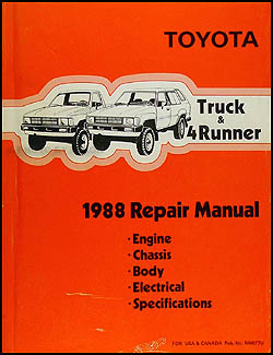 toyota pickup service manuals shop owner maintenance and 1988 toyota pickup truck 4runner repair manual original