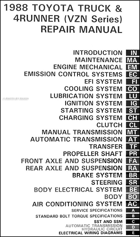 1988 toyota pickup truck 4runner 6 cyl vzn repair shop manual rh faxonautoliterature com 1989 toyota pickup factory service manual 1989 Toyota Pickup