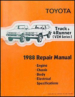 1988 toyota pickup truck  4runner 6 cyl vzn repair shop manual supplement 1988 toyota pickup service manual pdf 1987 Toyota Pickup