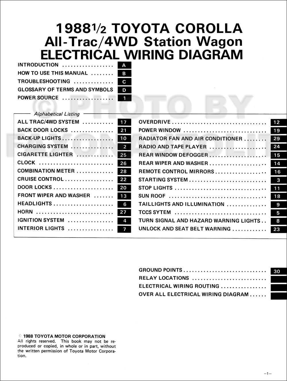 1988 Toyota Corolla All 4wd Station Wagon Wiring Diagram Manual Original
