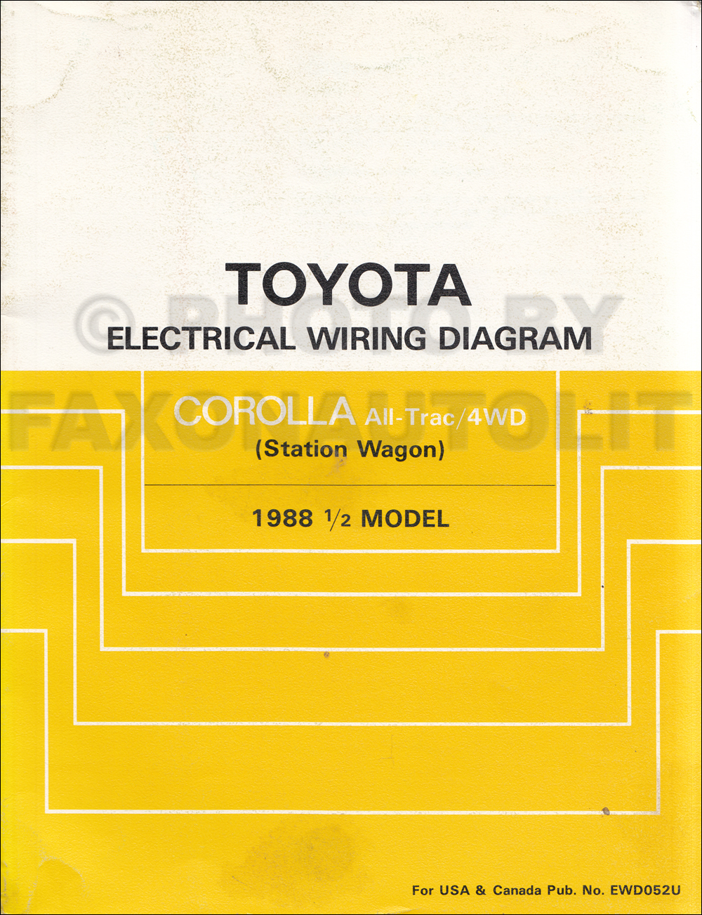 1988 Toyota Corolla All-Trac/4WD Station Wagon Wiring Diagram Manual ...