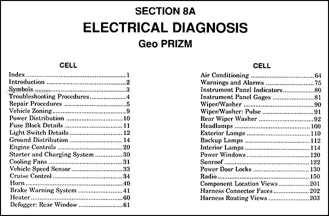 1989 90GeoPrizmElectrical TOC 1989 1990 geo prizm electrical diagnosis manual original 1992 Geo Prizm Wiring Diagram at reclaimingppi.co