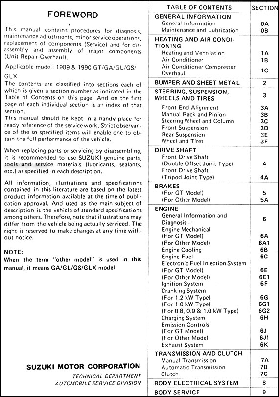 1989 1990 suzuki swift 1300 repair shop manual original rh faxonautoliterature com 2014 Suzuki Swift GLX Suzuki Swiff