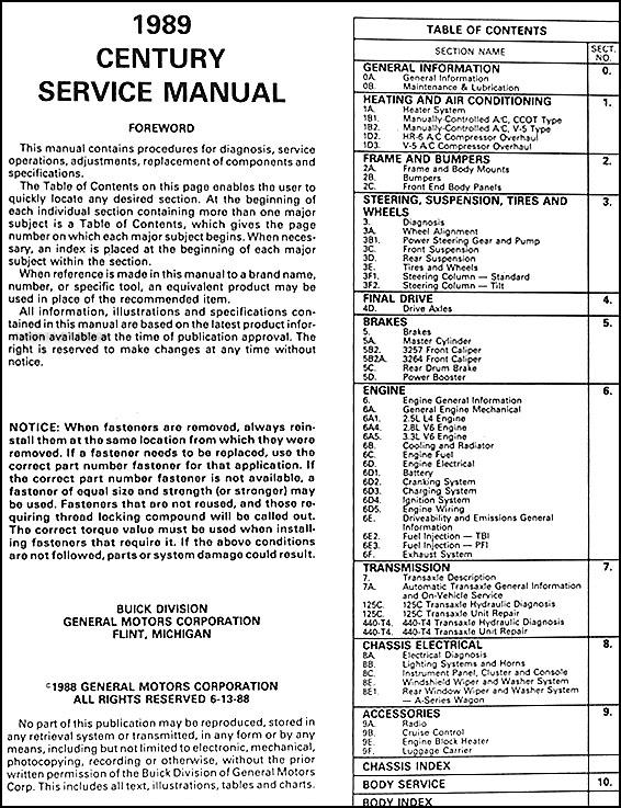 1989 buick century repair shop manual original rh faxonautoliterature com 2001 buick century service manual 1999 buick century service manual pdf