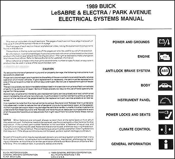 1989 Buick Electra Park Avenue Lesabre Electrical Manual